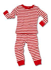 organic baby long johns, organic baby pajamas, red and white stripe pajamas